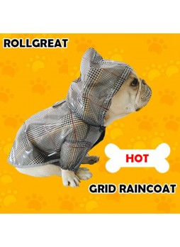New Waterproof Clothing Large Puppy Grid Rain Coat Lattice Clothes Teddy Dog Pet Coat French Bulldog