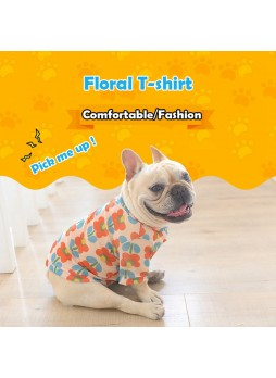 Pet Clothing Summer T-shirt Dress Dog Mesh Clothes Breathable Flower Teddy